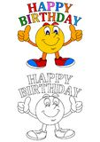 Ball with a smile and the words happy birthday. Ball with a smile and a thumbs-up sign happy birthday - vector Royalty Free Stock Photography