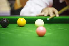 Ball and Snooker Player. In game royalty free stock images