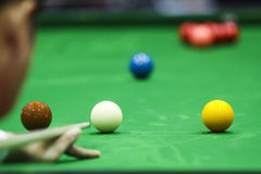 Ball and Snooker Player Royalty Free Stock Photo