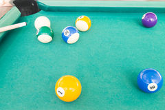 Ball is snookered or trapped during snooker billards game. Ball in snookered or trapped situation during snooker billards game Stock Photo