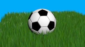 Ball. Soccer ball, on blue background, created in 3d Studio Max Stock Photos