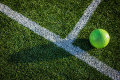Ball on Soccer Field Royalty Free Stock Photos