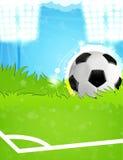 Ball on the soccer field Stock Photos