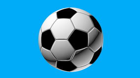 Ball. Soccer ball, front view, on blue background, created in 3d Studio Max Stock Photography