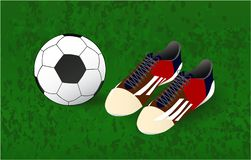 Ball and soccer shoes Football background, play vector illustration