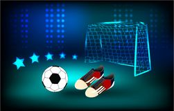 Ball and soccer shoes Football background, play royalty free illustration