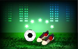 Ball and soccer shoes Football background, play stock illustration