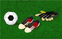 Ball, soccer shoes and goalkeepers gloves, play vector illustration