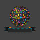 Ball with social media icons Royalty Free Stock Photography