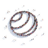 Ball sport game people 3d. Large and creative group of people gathered together in the shape of a ball, sport, game. 3D illustration, isolated against a white Stock Photos