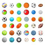 Ball sports icon set, cartoon style Stock Photos