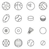 Ball or Ball Sports Icons Thin Line Vector Illustration Set. This image is a vector illustration and can be scaled to any size without loss of resolution Stock Illustration