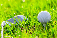 Ball on a stand and golf club Royalty Free Stock Photo