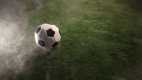 Ball stand in grass around smoke. And fog stock video footage