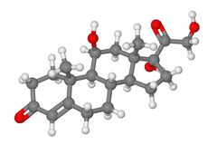 Ball and stick model of cortisol molecule Stock Image