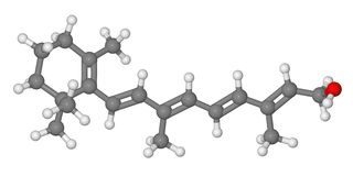 Ball and stick model of retinol molecule Stock Photography