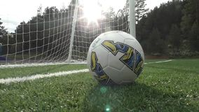The ball stops in front of the goal stock footage