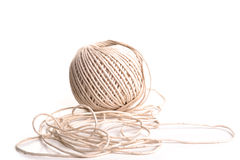 Ball of string. Photograph of a ball of string shot in studio and isolated on a white background Royalty Free Stock Photos