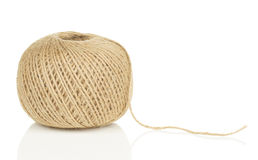 Ball of String with Loose End. On White Background with Reflection Stock Image