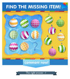 Ball summer Find the missing item Royalty Free Stock Images