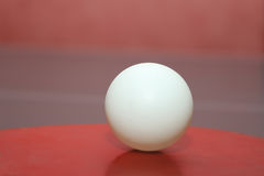 The ball for table tennis. Ball for table tennis on a table in the gym stock photos
