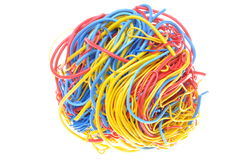 Ball of tangled cables Royalty Free Stock Photo