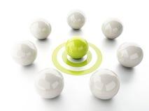 Ball on target. business leadership success concept. Image of 3d green ball on target. business leadership success concept Stock Photo