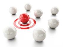 Ball on target. business leadership success concept. Image of 3d red ball on target. business leadership success concept Stock Images