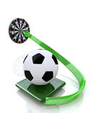 The ball into target. In the design of information related to sport and football Royalty Free Stock Image