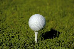 Ball on the Tee. A Golf Ball sits up on the Tee, Ready for play Royalty Free Stock Photo