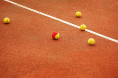 Ball on tennis court background Stock Image
