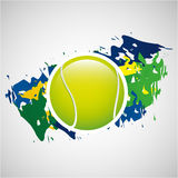 Ball tennis olympic games brazilian flag colors Royalty Free Stock Photography