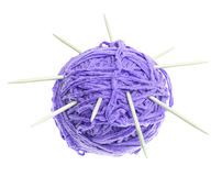 A ball of thread and knitting needles Stock Photos