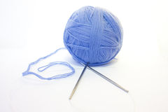 Ball of thread and knitting spokes Stock Images