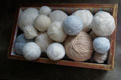 Thread the balls on a dark background. Lots of yarn in the box. royalty free stock image