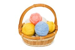 Ball of threads in a basket Stock Photo