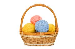 Ball of threads in a basket Stock Image