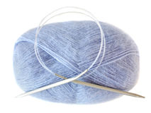 Ball of threads of blue color. Royalty Free Stock Photography