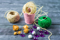 Ball of threads on wooden background Stock Photography