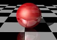 Ball on tiles Royalty Free Stock Photography