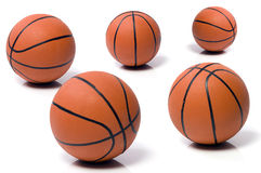 Ball to the basket-ball. Five balls to the basket-ball Royalty Free Stock Images