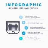Ball, Tor, Torpfosten, Netz, Fußball-Linie Ikone mit Hintergrund infographics Darstellung mit 5 Schritten vektor abbildung