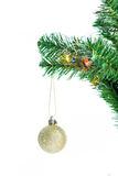 Ball on Tree Merry Christmas and Happy New Year Stock Photo