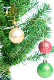 Ball on Tree Merry Christmas and Happy New Year Royalty Free Stock Photo