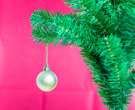 Ball on Tree Merry Christmas and Happy New Year Royalty Free Stock Image