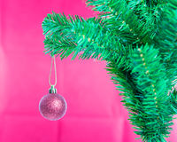 Ball on Tree Merry Christmas and Happy New Year Royalty Free Stock Photos