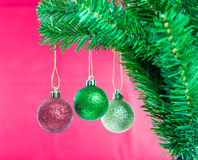 Ball on Tree Merry Christmas and Happy New Year Royalty Free Stock Photography