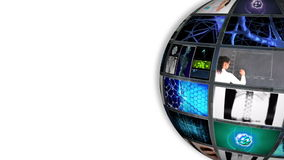 Ball turning showing different pictures about science stock footage