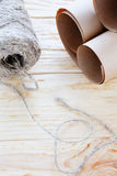 Ball of twine and kraft paper Stock Photo