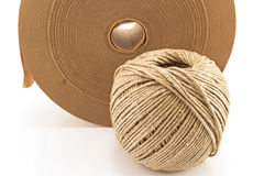 Ball of twine and paper adhesive tape Royalty Free Stock Images